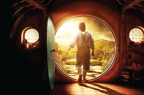 Bilbo Baggins, The Hobbit, stepping out of his front door